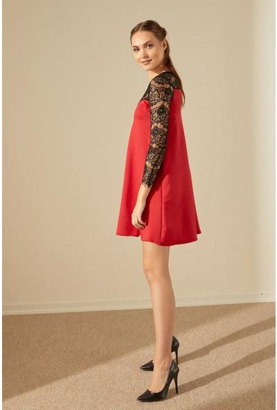 Trendmay Dalgıç Kumaş Güpür Elbise-Kırmızı L