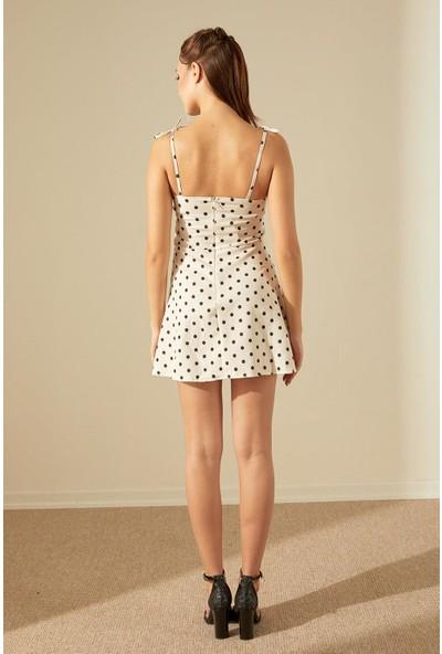 Trendmay Puantiyeli Omuzdan Bağlamalı Elbise-Krem L