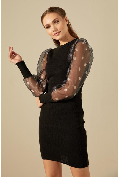 Trendmay Kolları Volan Puantiyeli Triko Elbise-Siyah Std