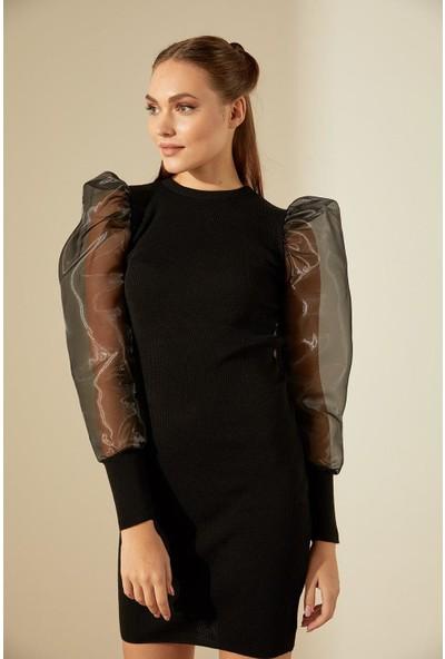 Trendmay Kolları Volan Triko Elbise-Siyah Std