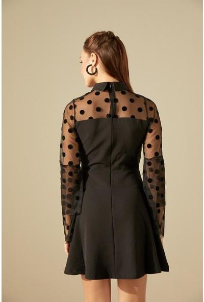 Trendmay Göğüs Tül Puantiyeli Elbise-Siyah L