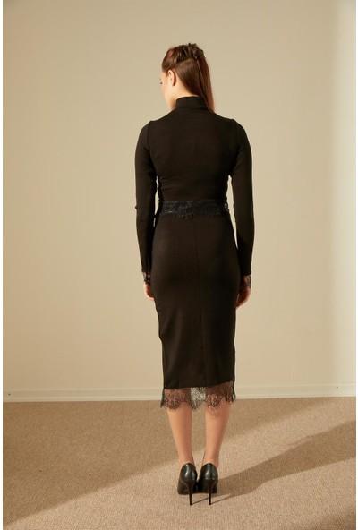 Trendmay Yırtmaç Ve Bustiyer Dantel Detay Triko Takım-Siyah L