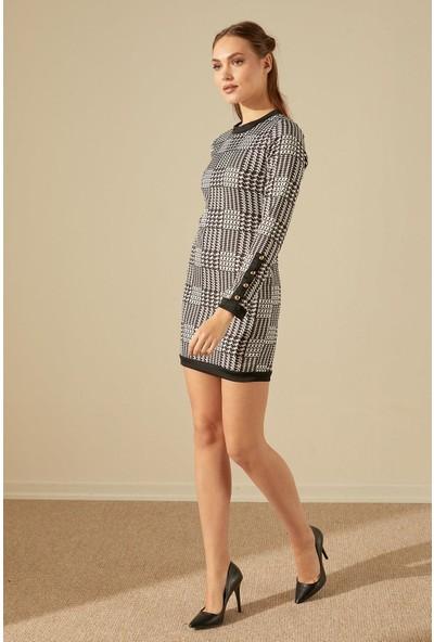 Trendmay Desenli Düğme Detay Mini Elbise Siyah - Beyaz L