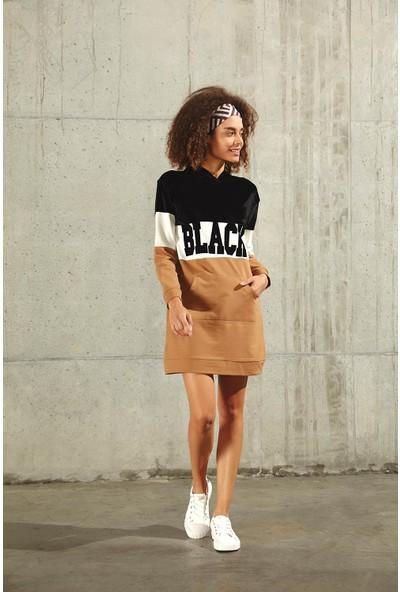 Trendmay Yazılı Spor Elbise Siyah - Camel M