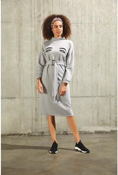 Trendmay Göz Detay Sweat Elbise Gri L