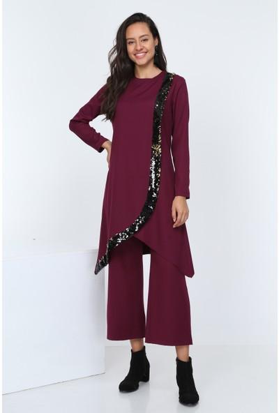 Diyar Tekstil Kadın Krovize Pul Payetli Mürdüm Tunik Takım