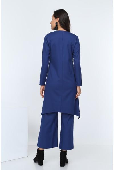 Diyar Tekstil Kadın Krovize Pul Payetli Saks Tunik Takım