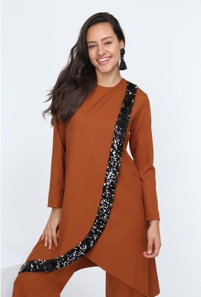 Diyar Tekstil Kadın Krovize Pul Payetli Hardal Tunik Takım