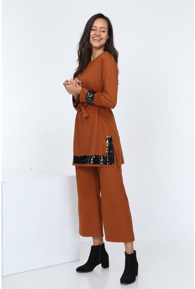 Diyar Tekstil Kadın Pul Payetli Hardal Tunik Takım