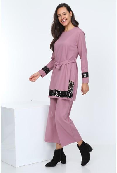 Diyar Tekstil Kadın Pul Payetli Pudra Tunik Takım