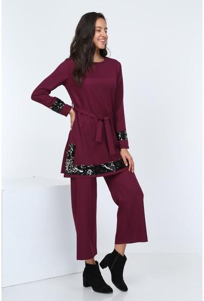 Diyar Tekstil Kadın Pul Payetli Mürdüm Tunik Takım