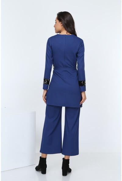 Diyar Tekstil Kadın Pul Payetli Saks Tunik Takım