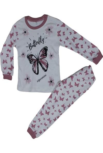 Süpermini Kelebek Figürlü 4-5-6 Yaş Kız Çocuk Pijama Takımı