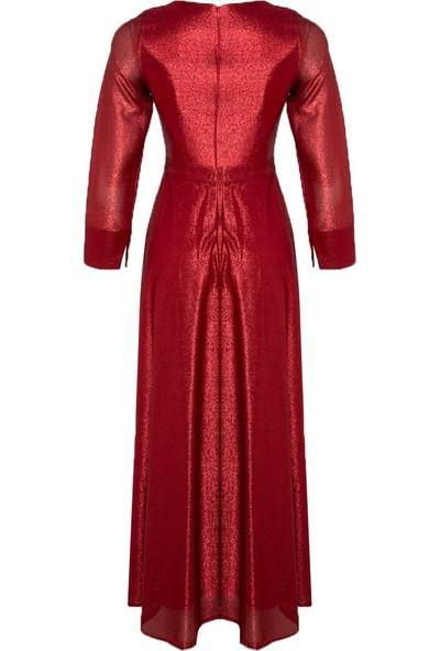 Mileny Kadın Beli Detaylı Abiye Elbise Kırmızı