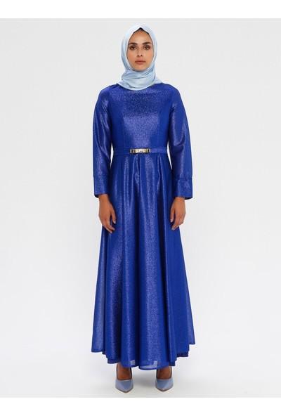 Mileny Kadın Beli Detaylı Abiye Elbise Saks