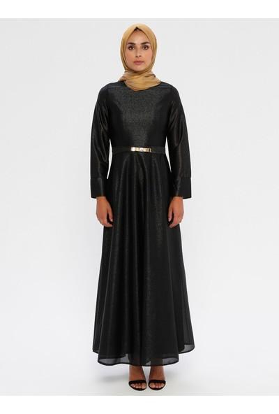 Mileny Kadın Beli Detaylı Abiye Elbise Siyah