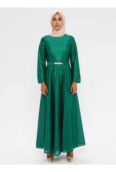 Mileny Kadın Beli Detaylı Abiye Elbise Yeşil