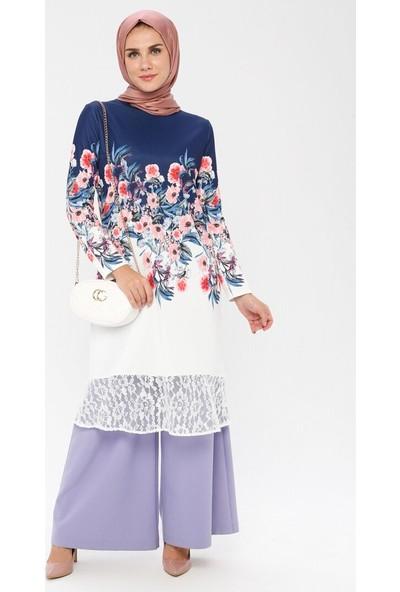 Plistre Kadın Çiçek Desenli Tunik Mavi