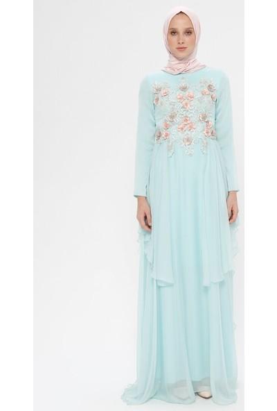 Mileny Kadın Çiçek Detaylı Şifon Abiye Elbise Mint