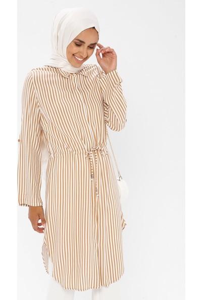 Mileny Kadın Çizgili Tunik Kahverengi