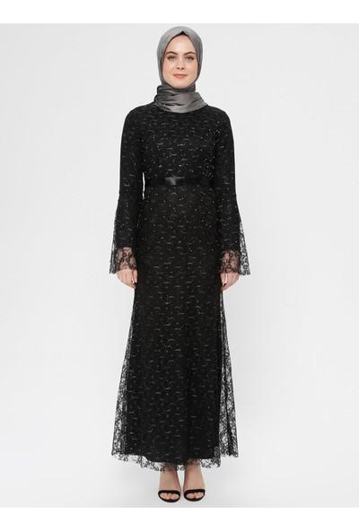 Bürün Kadın Dantel Abiye Elbise Siyah