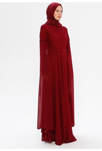 Bürün Kadın Dantel Detaylı Abiye Elbise Bordo