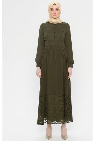Bürün Kadın Dantel Detaylı Abiye Elbise Haki