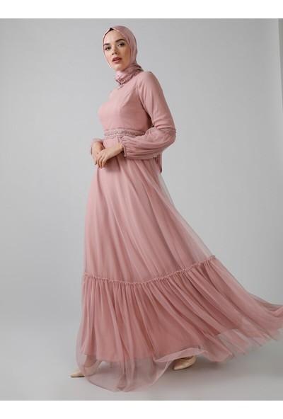 Refka Kadın Dantel Detaylı Tüllü Abiye Elbise Gül Kurusu