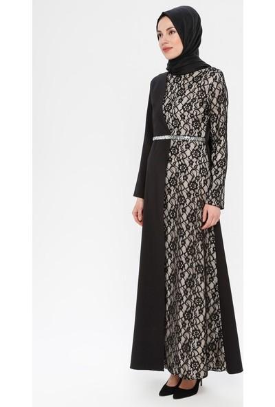 Bürün Kadın Dantelli Abiye Elbise Siyah