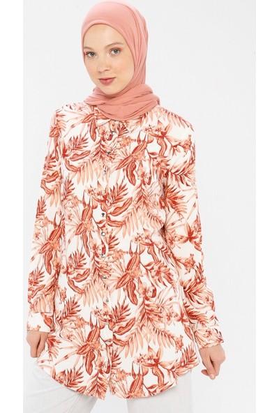 Miscats Kadın Desenli Tunik Tarçın
