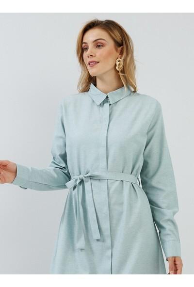 Everyday Basic Kadın Gizli Düğmeli Uzun Tunik Elbise Açık Mint Everday Basic Modanisa