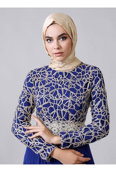 Refka Kadın Dore Dantel Detaylı Abiye Elbise Saks Mavisi