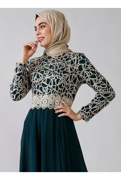 Refka Kadın Dore Dantel Detaylı Abiye Elbise Zümrüt