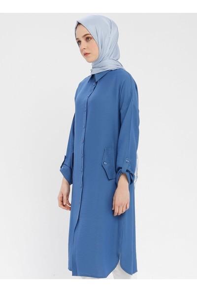 Ginezza Kadın Düğmeli Tunik Indigo