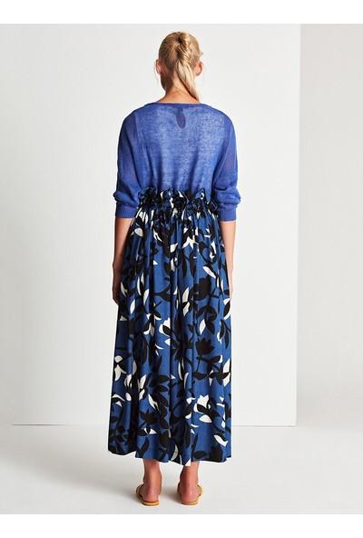 Muni Muni Kadın Floral Önü Düğmeli Salaş Etek Mavi