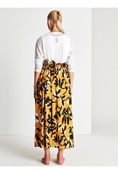 Muni Muni Kadın Floral Önü Düğmeli Salaş Etek Sarı