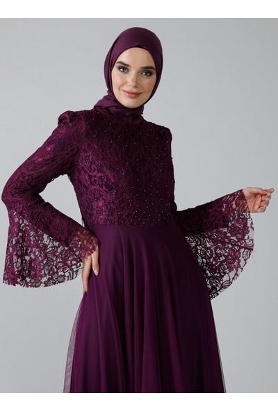 Refka Kadın Inci Detaylı Dantelli Abiye Elbise Mor