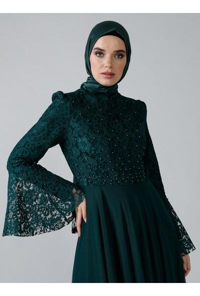 Refka Kadın Inci Detaylı Dantelli Abiye Elbise Zümrüt