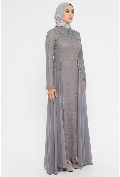 Bürün Kadın Incili Dantelli Abiye Elbise Gri
