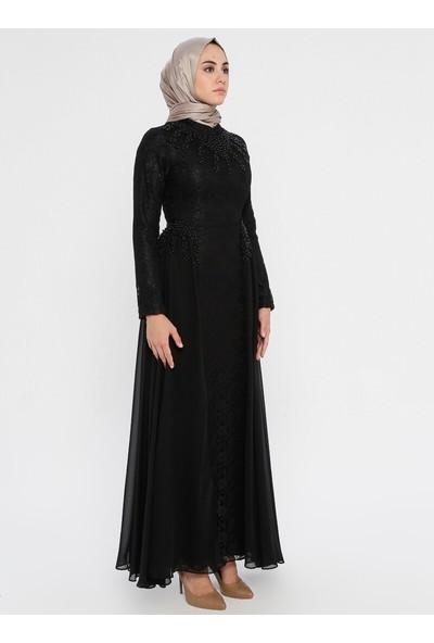 Bürün Kadın Incili Dantelli Abiye Elbise Siyah
