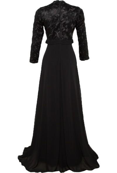 Mileny Kadın Işlemeliabiye Elbise Siyah