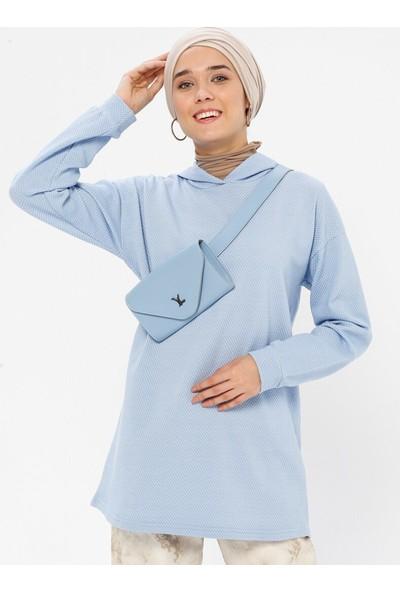 Miscats Kadın Kapüşonlu Sweatshirt Mavi