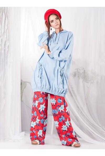 Miscats Kadın Kapüşonlu Tunik Bebe Mavisi