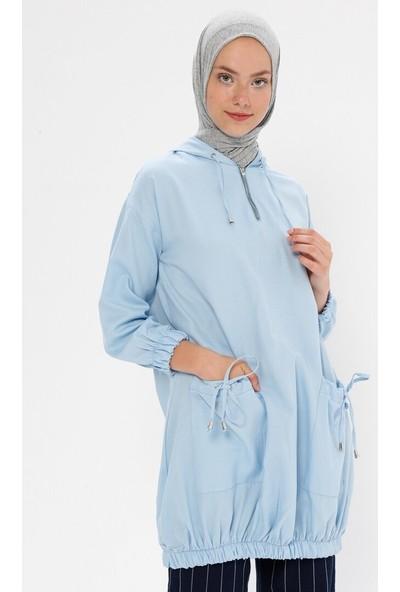Miscats Kadın Kapüşonlu Tunik Mavi