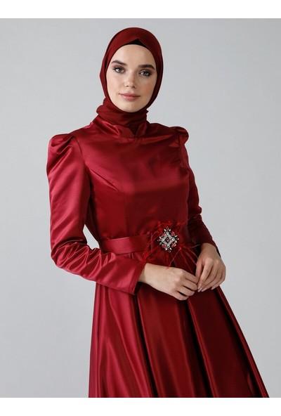 Refka Kadın Kemer Detaylı Abiye Elbise Bordo