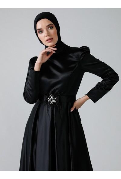 Refka Kadın Kemer Detaylı Abiye Elbise Siyah