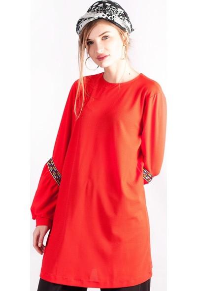Miscats Kadın Kol Detaylı Tunik Kırmızı