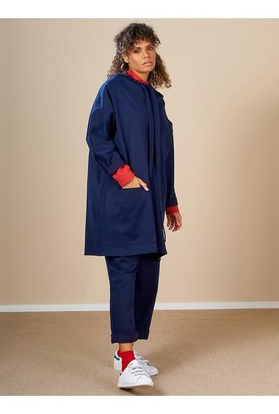 Mevra Kadın Nakışlı Pantolon Lacivert