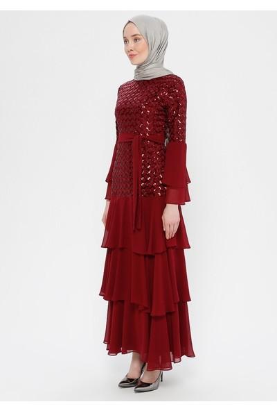 Bürün Kadın Payet Işlemeli Abiye Elbise Bordo