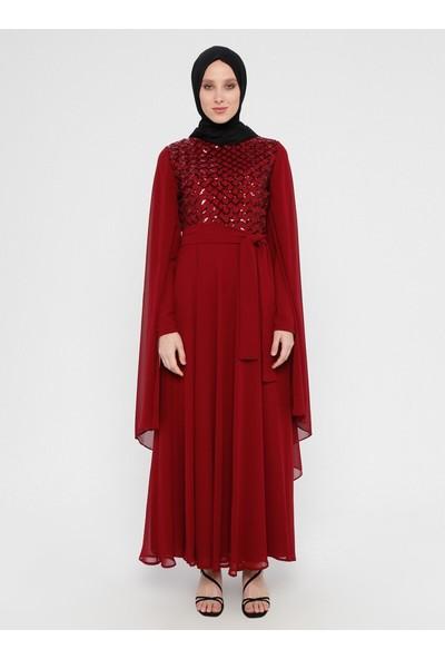 Bürün Kadın Payetli Abiye Elbise Bordo